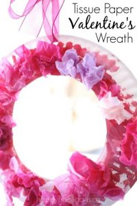 Valentines craft for kids - simple paper plate and tissue paper wreath