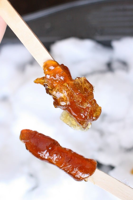 maple snow taffy on a stick