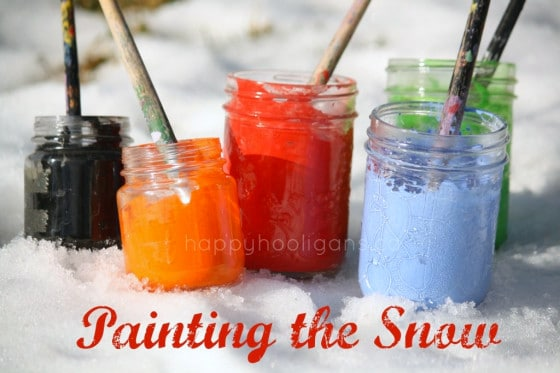 Painting the snow with tempra paints