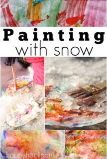 painting the snow with coffee filters and markers