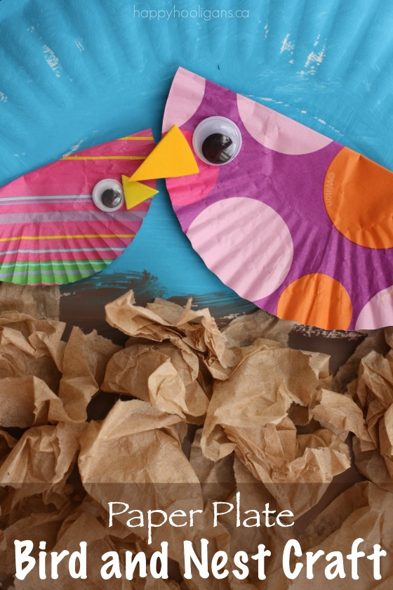 bird and nest craft with cupcake liners and paper plates