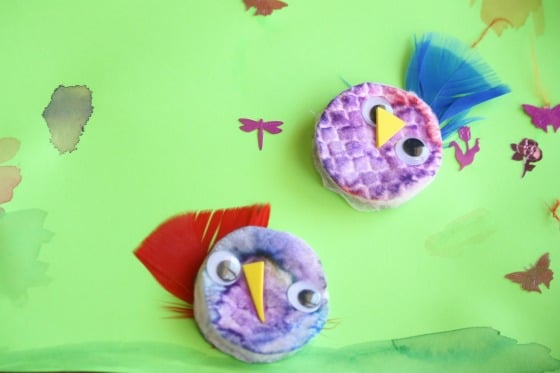 chick craft made with coloured cotton make up pads