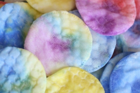 cotton pads coloured with liquid water colours
