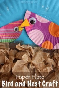 cupcake liner birds and paper plate nest
