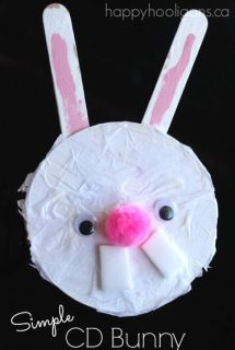 An Adorable CD Bunny Craft for Preschoolers and Toddlers to Make