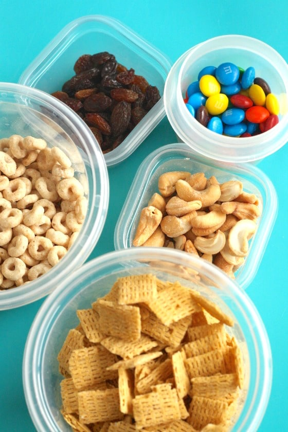 Ingredients for kids trail mix