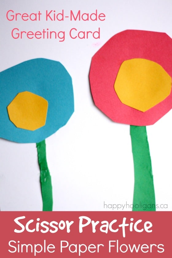 Making paper flowers for homemade greeting cards simple paper flowers for a kid made greeting card mightylinksfo