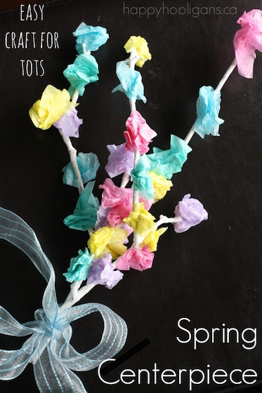 Kid-Made Spring Centerpiece with Twigs and Tissue Paper