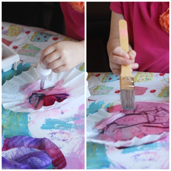 colouring coffee filters with liquid watercolours
