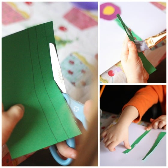 cutting paper flower stems
