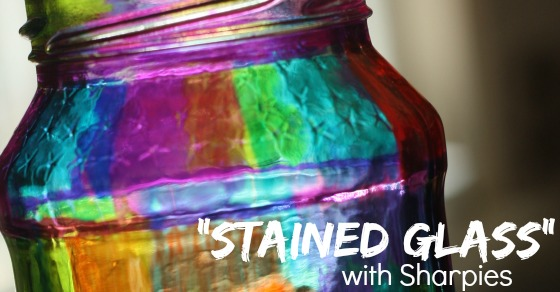 create a stained glass effect with sharpie markers and a jar