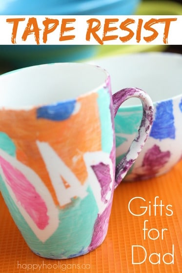 Easy Homemade Father's Day Gift: Tape Resist Mug and Bowl