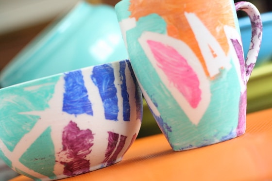 painted mug and bowl for Fathers Day