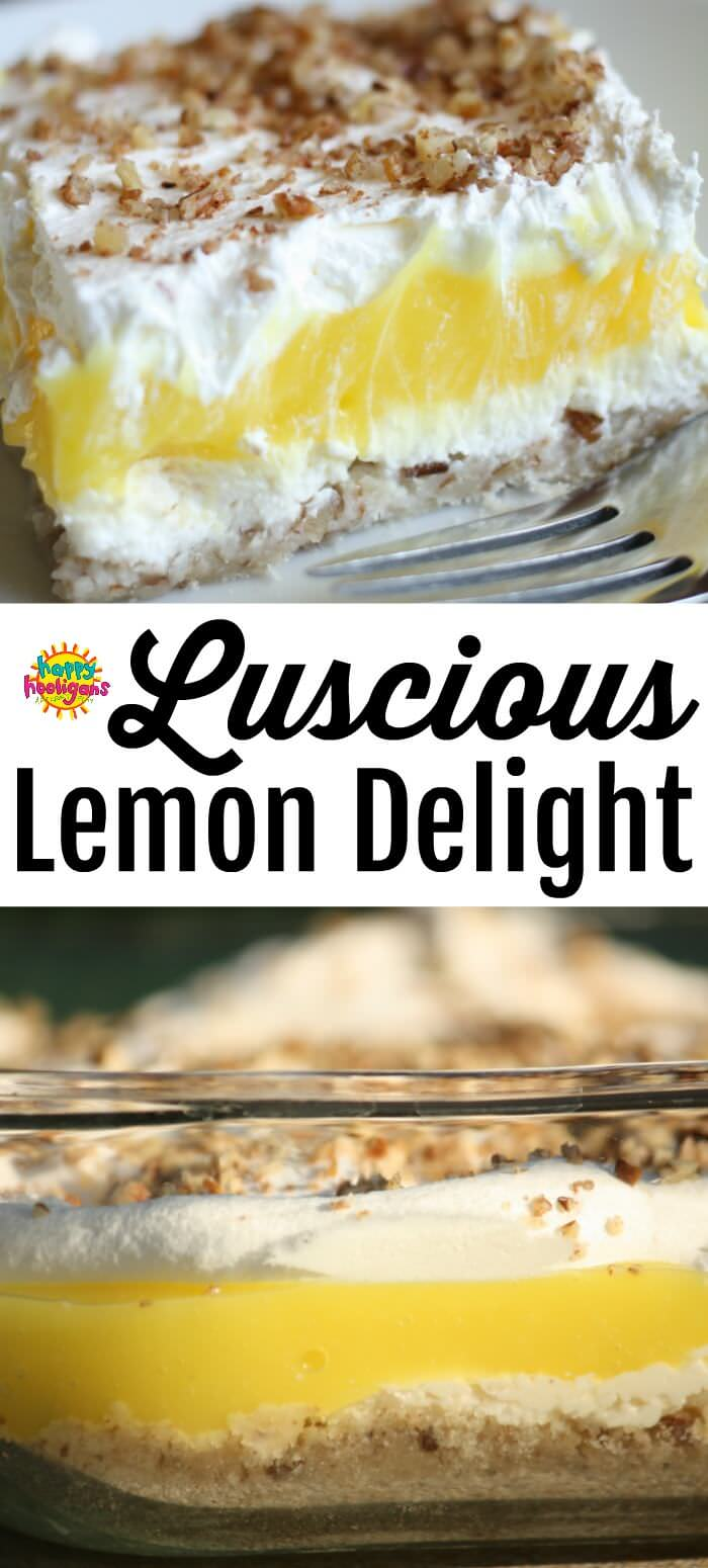 This luscious lemon dessert made with instant lemon pudding, cream cheese and cool whip. Don't let the 4 layers intimate you. It's classic, easy recipe, perfect for family dinners, potlucks and holiday entertaining. #HappyHooligans #EasyRecipes #InstantPudding, #CoolWhip, #BestDessertRecipes #BestDesserts #EasyDesserts #Lemon #CreamCheese #PecanCrust