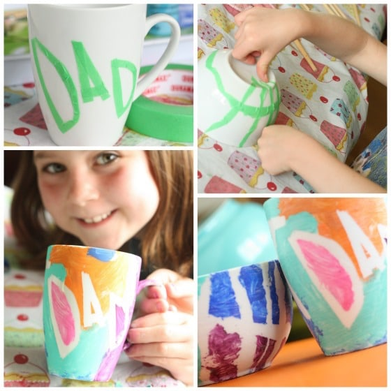 steps for making fathers day mug and bowl with tape resist