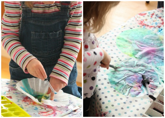 kids colouring coffee filters with liquid watercolours copy