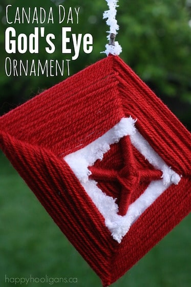 God's Eye Ornament – a Kids' Weaving Craft for Canada Day
