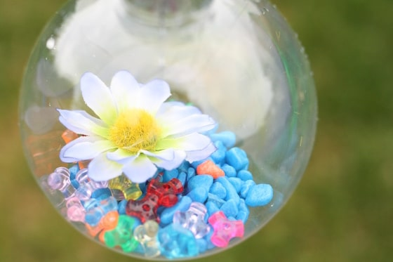 flowers and aquarium rocks in clear plastic ornament