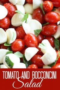 Red and white salad for Canada Day with tomatoes and bocconcini cheese
