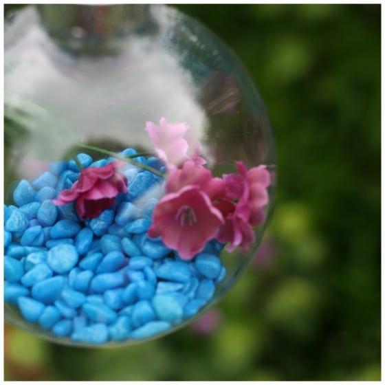 blue aquarium rocks in plastic ornament