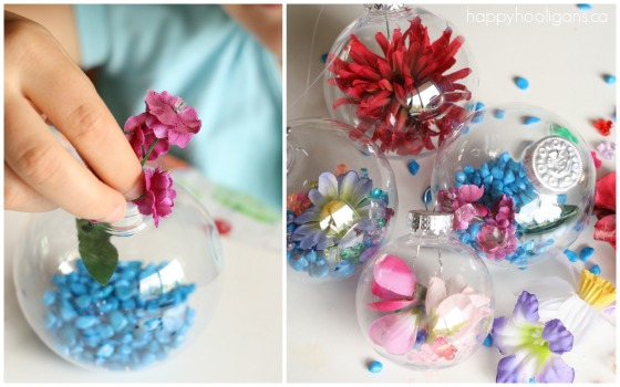 child filling clear plastic ornaments with beads and flowers