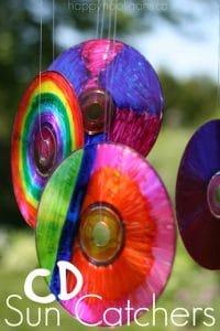 Colourful, vibrant CD sun catchers
