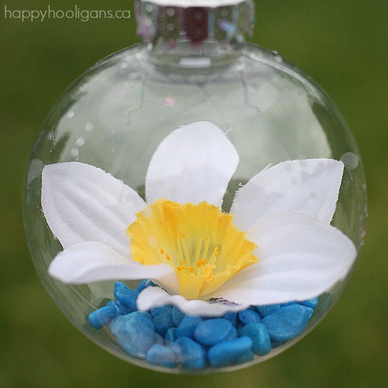 homemade daffodil flower drop ornament
