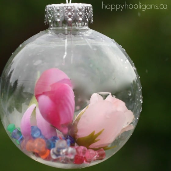pink flowers and beads in flower drop garden ornament