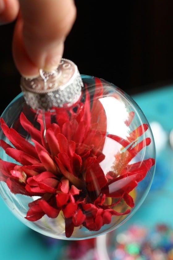 red flower drop garden ornament