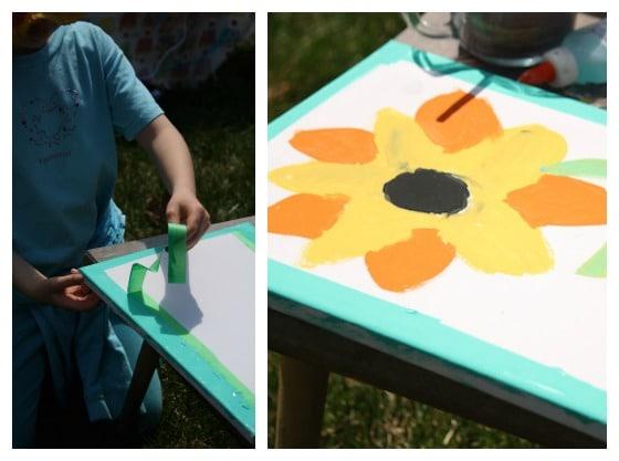 tape resist frame on kids art project