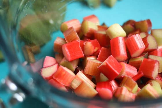 chopped fresh rhubarb for cake recipe