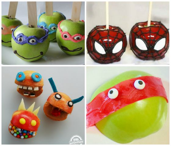 ninja turtle candy apples and spiderman candy apples