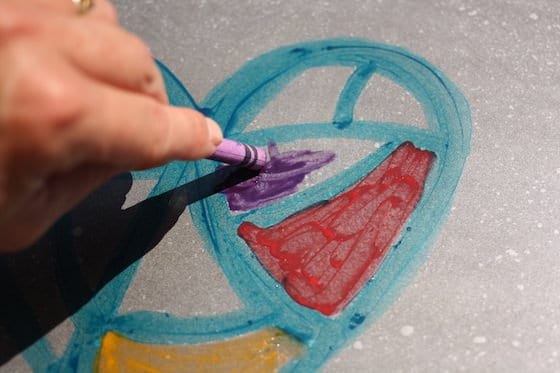 drawing with melted crayons