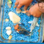 Tiny Ocean Activity Bin in a baking dish