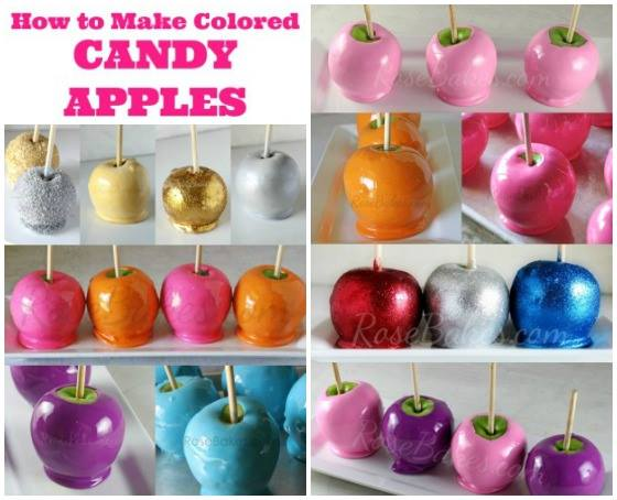 how to make coloured candy apples and glitter candy apples