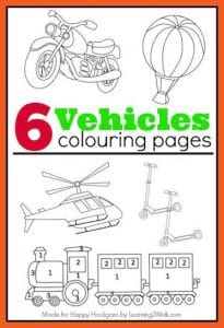 6 Vehicles Coloring Pages - Happy Hooligans  copy