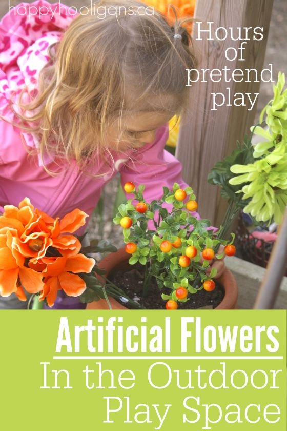 Artificial Flowers in the Outdoor Play Space - Happy Hooligans