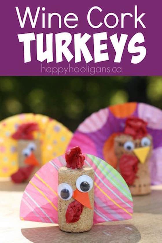 Wine Cork Turkey Decoration for Kids - Happy Hooligans