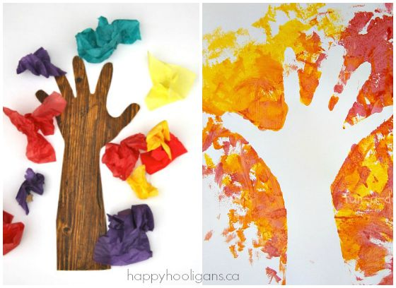 Handprint Fall Tree Crafts for Preschoolers - Happy Hooligans