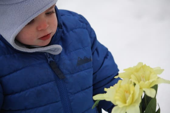 baby playing with artificial flowers in the snow