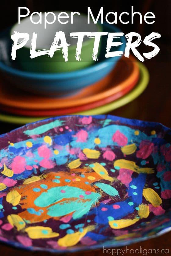 Paper Mache Platters for Kids to Make - Happy Hooligans
