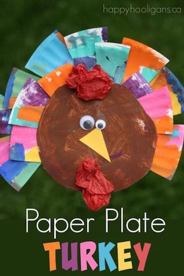 Painted Paper Plate Turkey Craft for Toddlers and Preschoolers