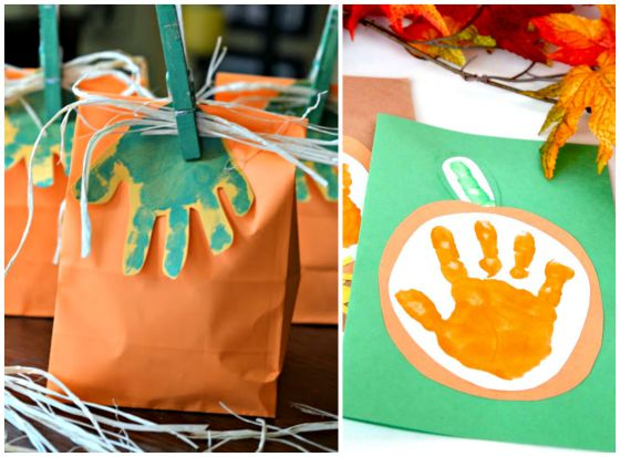 Pumpkin Handprint Art for Toddlers
