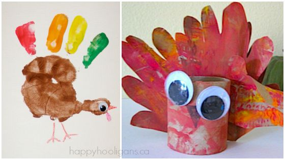 handprint turkey crafts for Thanksgiving
