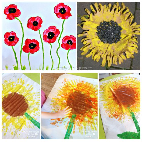 sunflower and poppy handprint crafts for kids