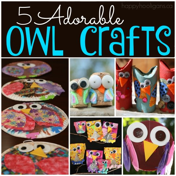 5 owl crafts for kids to make by Happy Hooligans