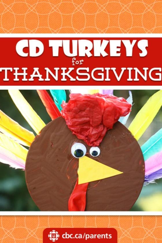 CD Turkey craft for Thanksgiving