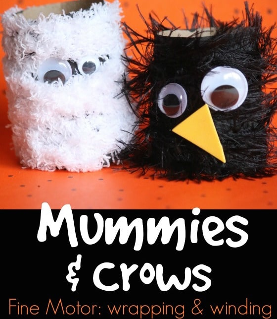 Cardboard Roll Mummies and Crows - an easy Halloween craft for kids - Happy Hooligans