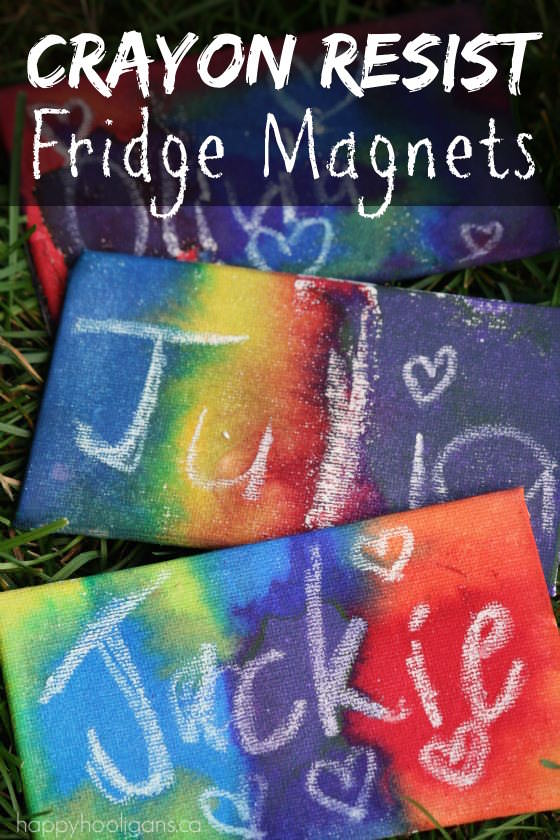 Homemade Fridge Magnets made with Crayon Resist Technique