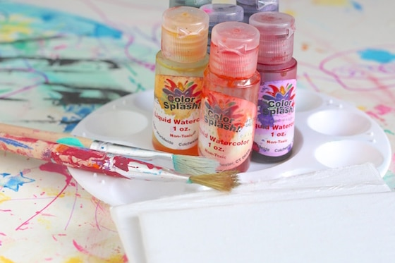 liquid water colours and canvases